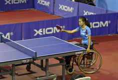 Disabled athletes. Athletes with disabilities are competing in the table tennis at a sports center in Karanganyar, Central Java, Indonesia Stock Image