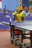 Disabled athletes. Athletes with disabilities are competing in the table tennis at a sports center in Karanganyar, Central Java, Indonesia Stock Photography