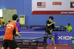 Disabled athletes. Athletes with disabilities are competing in the table tennis at a sports center in Karanganyar, Central Java, Indonesia Royalty Free Stock Photo