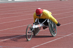 Disabled athletes. Athletes with disabilities train at a stadium in the city of Solo, Central Java, Indonesia Stock Photos