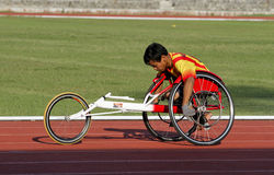 Disabled athletes. Athletes with disabilities were practicing at a stadium in the city of Solo, Central Java, Indonesia Stock Photos