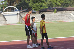 Disabled athletes. Athletes with disabilities were practicing at a stadium in the city of Solo, Central Java, Indonesia Royalty Free Stock Image