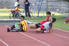 Disabled athletes. Athletes with disabilities were practicing at a stadium in the city of Solo, Central Java, Indonesia Royalty Free Stock Images