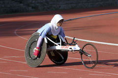 Disabled athletes. Athletes with disabilities were practicing at a stadium in the city of Solo, Central Java, Indonesia Stock Images