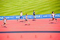 Disabled Athletes in the London Olympic stadium. Athletes at the Visa London Disability Athletics Challenge at the Olympic Stadium in London on May 8, 2012. The Royalty Free Stock Photography