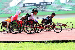 Disabled athletes. Perform exercises as preparation for the game in Solo, Central Java, Indonesia Stock Photography