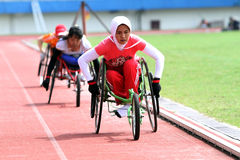 Disabled athletes. Perform exercises as preparation for the game in Solo, Central Java, Indonesia Royalty Free Stock Photography