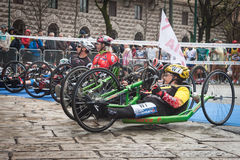 Disabled athletes taking part in Stramilano Stock Photography