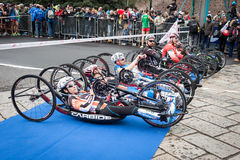 Disabled athletes taking part in Stramilano stock images