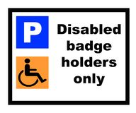 Disabled Badge holders only Royalty Free Stock Images