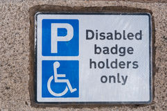 Disabled badge holders only Stock Photos