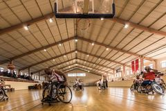 Disabled basketball players have friendly basketball match stock image