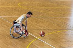 Disabled basketball players have friendly basketball match stock photo