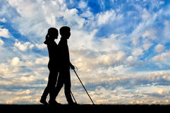 Disabled blind with cane day Stock Photos