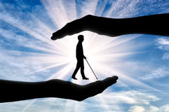 Disabled blind with cane in hands day Royalty Free Stock Image