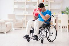 The disabled boxer at wheelchair recovering from injury Stock Photography
