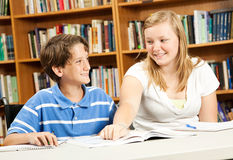 Disabled Boy with Teen Tutor Royalty Free Stock Photos