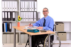 Disabled business man in wheelchair Royalty Free Stock Photography