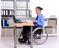 Disabled business man in wheelchair Stock Photos