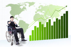 Disabled businessman and financial graph Stock Image