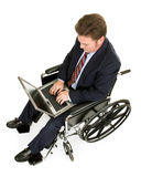Disabled Businessman with Laptop Stock Photography