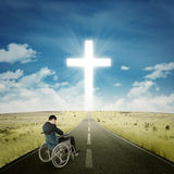Disabled businessman praying on the road Stock Images