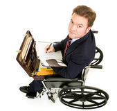 Disabled Businessman Takes Notes Stock Photos