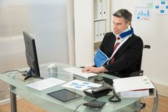 Disabled Businessman On Wheelchair Using Computer Stock Image