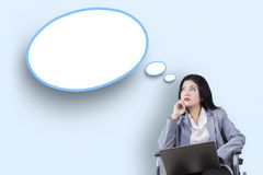Disabled businesswoman with speech bubble stock photos