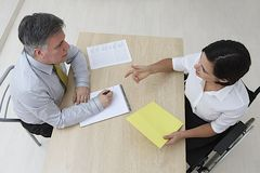 Disabled candidate job interview stock photo