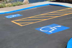 Disabled car park spaces Royalty Free Stock Photography