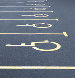 Disabled car parking spaces Stock Photos