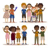Disabled children with friends. Pupils girls and boys. International kids with their handicapped friend. Vector illustration Stock Photography