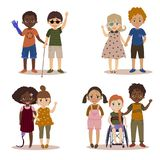 Disabled children with friends. Pupils girls and boys. International kids with their handicapped friend. Vector illustration Stock Image