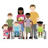 Disabled children with friends and teacher. Vector illustration of disabled children with friends and teacher Stock Illustration