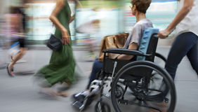 Disabled on a city street stock images