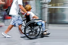 Disabled on a city street Stock Photography