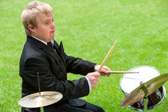 Disabled drummer in action. Stock Images
