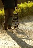 Disabled elderly with medical Walker for walking Royalty Free Stock Photo