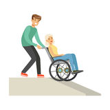Disabled elderly woman in wheelchair, smiling volunteer man helping her, healthcare assistance and accessibility. Colorful vector Illustration on a white stock illustration