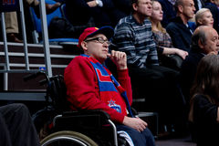 Disabled fan on tribune Royalty Free Stock Photo