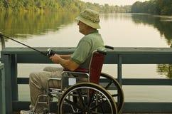 Disabled fisherman royalty free stock photos