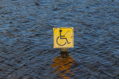 Disabled fishing sign in centre of lake Stock Photos