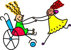 Disabled friends royalty free illustration