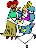 Disabled girl. Happy little disabled girl sitting in special chair whilst being helped to eat her meal - toddler art series Stock Images