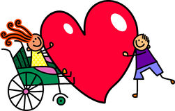 Disabled Girl with Big Heart Love Stock Photo