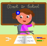 Disabled girl at school vector Stock Photos