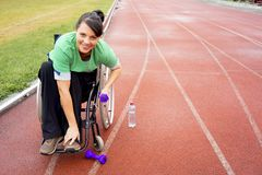 Disabled girl on a stadium Royalty Free Stock Photo