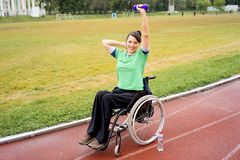 Disabled girl on a stadium Royalty Free Stock Photography