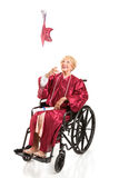 Disabled Graduate Tosses Cap Stock Image